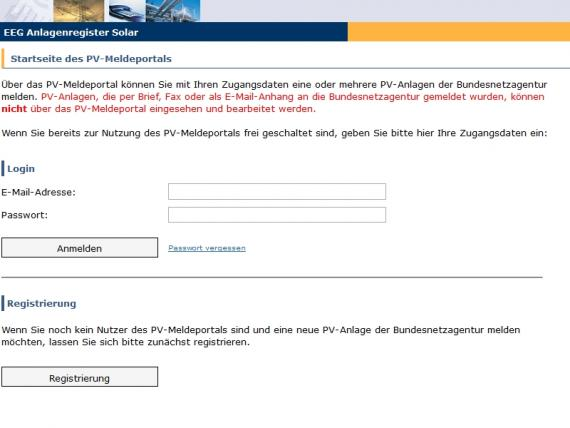 Screenshot des Meldeportals der Bundesnetzagentur zur Anmeldung der Photovoltaikanlage